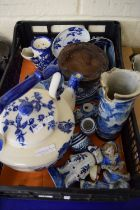 BOX CONTAINING BLUE AND WHITE CHINA INCLUDING LARGE IRONSTONE TEA POT, FIGURES, PLATES ETC