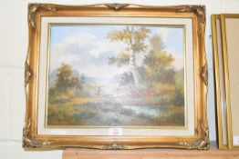 OIL ON BOARD OF PHEASANTS IN LANDSCAPE, INDISTINCT SIGNATURE, IN GILT FRAME, APPROX 29 X 39CM