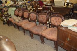 SET OF SIX VICTORIAN MAHOGANY BALLOON BACK CHAIRS WITH BUTTONED LEATHER UPHOLSTERY (A/F)
