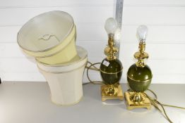 PAIR OF BRASS TABLE LAMPS, EACH APPROX 35CM