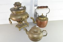 SMALL VINTAGE COPPER WATER BOILER, TOGETHER WITH TWO TEA POTS AND A SPRAYER