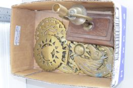 BOX CONTAINING HORSE BRASSES, BELL ETC