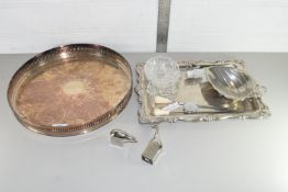 QTY OF SILVER PLATE INCLUDING GALLERIED TRAY ETC