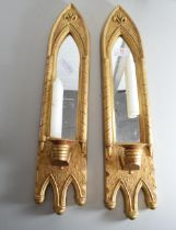 TWO MODERN GILT PAINTED DECORATIVE CANDLE SCONCES