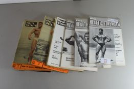 QTY OF VINTAGE HEALTH AND STRENGTH MAGAZINES CIRCA 1960S