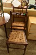 TWO CANE SEATED BEDROOM CHAIRS
