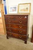LARGE MAHOGANY VENEERED CHEST OF TWO SHORT OVER FOUR LONG DRAWERS RAISED ON BRACKET FEET, WIDTH