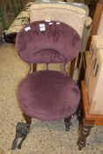VICTORIAN UPHOLSTERED BEDROOM CHAIR, HEIGHT APPROX 73CM