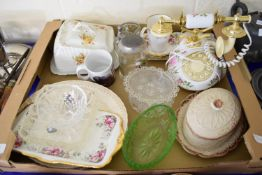 BOX CONTAINING REPRODUCTION PORCELAIN TELEPHONE, ROYAL ALBERT OLD COUNTRY ROSES SAUCERS, CHEESE DISH
