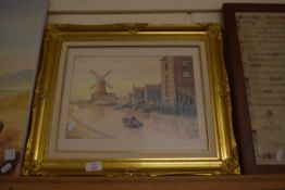 """FRAMED PRINT """"CLEY MILL"""" AFTER M BENSLEY IN ORNATE GILT FRAME, WIDTH APPROX 50CM"""
