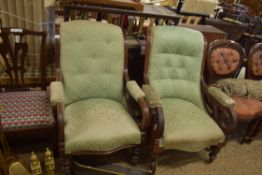 PAIR OF VICTORIAN MAHOGANY FRAMED ARMCHAIRS, EACH WIDTH APPROX 68CM MAX
