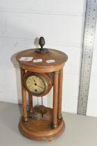 WOODEN MANTEL CLOCK, HEIGHT APPROX 28CM