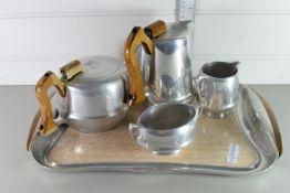 PIQUOT WARE COFFEE/TEA SET COMPRISING TEA POT, COFFEE POT, MILK, SUGAR AND TRAY