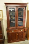 EARLY 20TH CENTURY CUPBOARD WITH GLAZED BOOKCASE ABOVE, WIDTH APPROX 104CM MAX