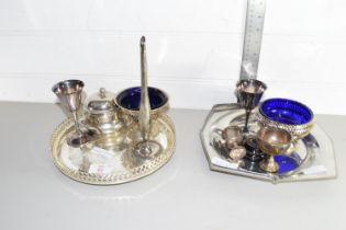 QTY OF SILVER PLATED WARES INCLUDING EGG CUPS, TRAYS ETC