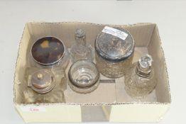 BOX CONTAINING INKWELLS, SCENT BOTTLES ETC