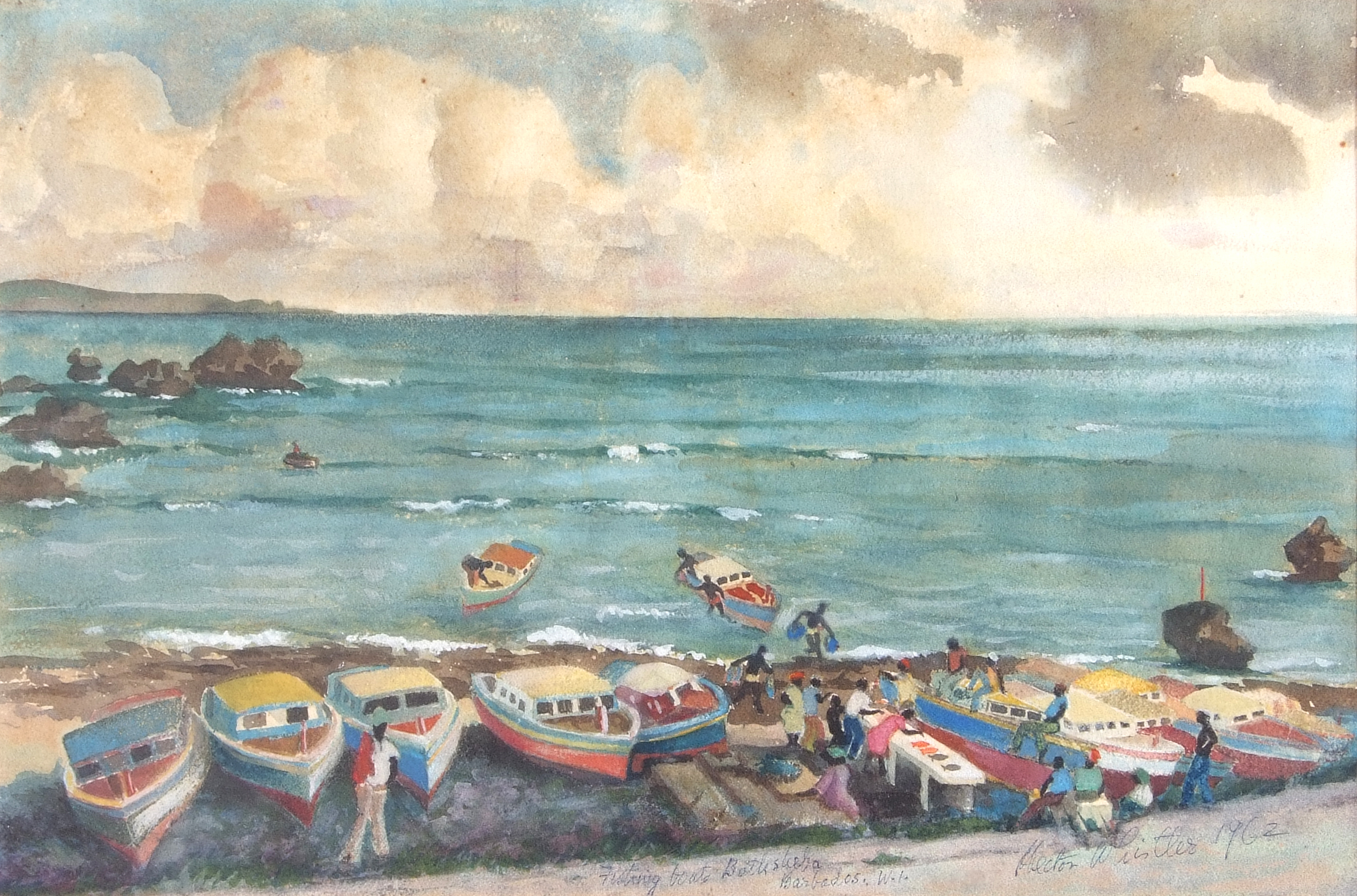 Hector Whister, Fishing boats, Barbados , Gouache on paper, signed , 12 x 18.5ins. - Image 2 of 2