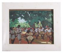 Contemporary unidentified artist, African dancers , Oil on board, unsigned , 18 x 23.5ins.