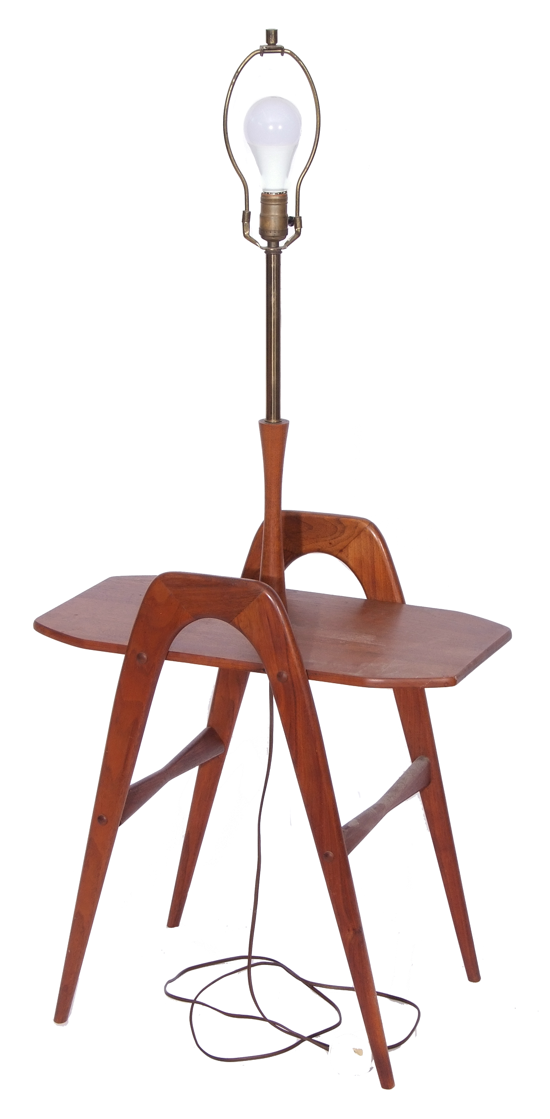 Circa 1960s Danish style magazine table with inset lamp holder