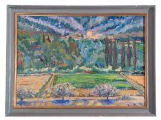 AR Martin Battye (born 1952), Continental landscape, oil on canvas, 49 x 69cm