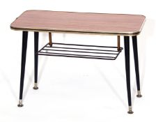 """Small Formica topped coffee table with magazine slide beneath by """"Newist"""" (Goldsmith & Co,"""