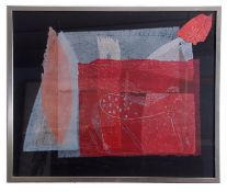 Contemporary, abstract design indistinctly signed., Mixed media, 27 x 32.5ins.
