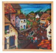 Adam Wilson, Village Scene , Oil on board, 19.5 x 19.5ins.