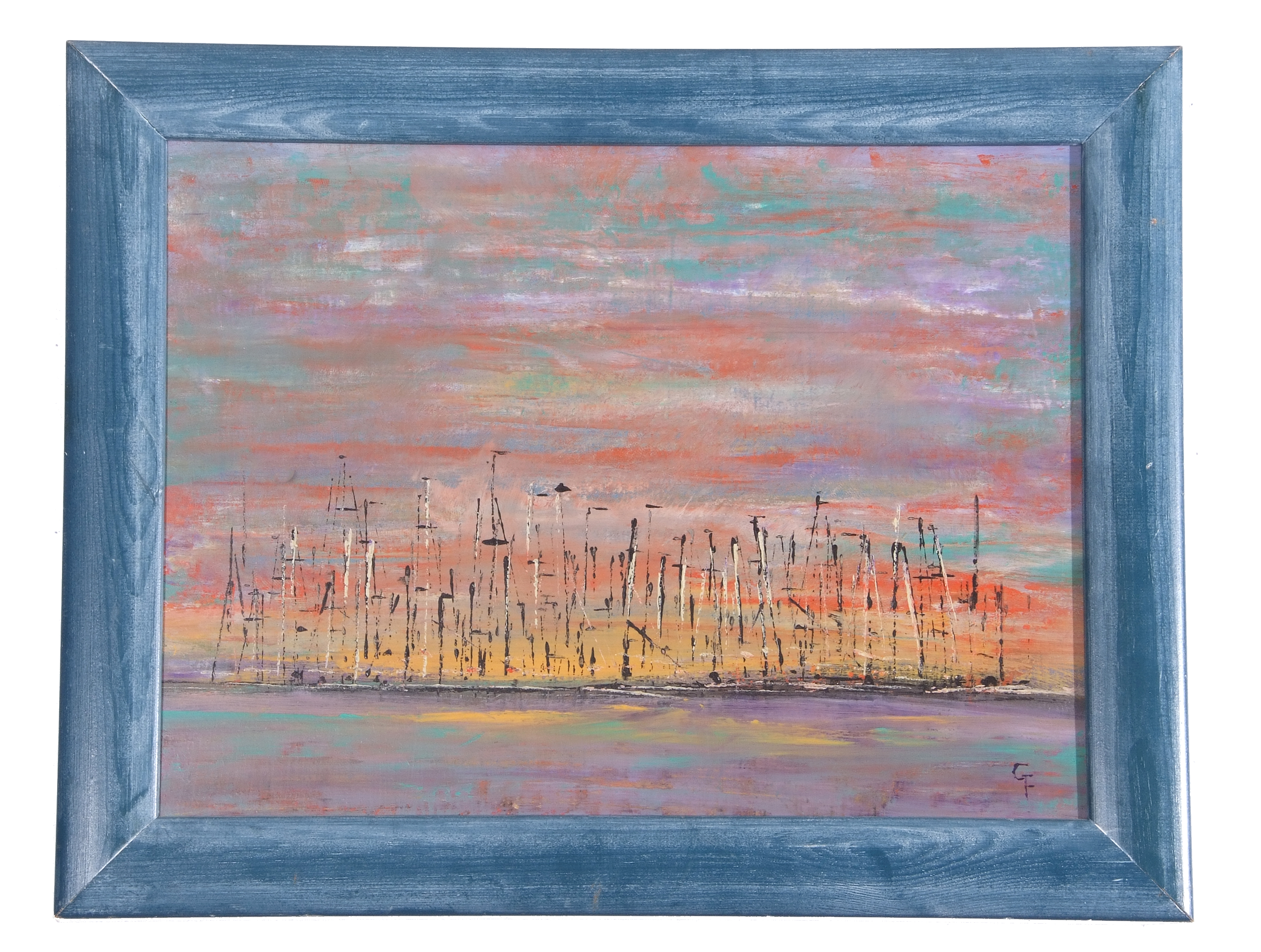 Gloria French, Contemporary, Marina in the Evening, indistinctly signed, dated verso, Oil on canvas