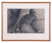 Caroline McAdam Clark, The Fisherman, Pencil, pen and chalk on paper, signed, 12 x 17.5ins.