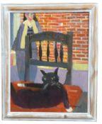 Derek Inwood, interior scene , Oil on board, signed , 18 x 14.