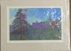 Derek Inwood, an unidentified country house set in rural surroundings, Oil pastel on paper, 8 x