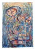 Arnold Hughes, British, Mid 20th Century, portrait of two Abstract figures , Oil on canvas,