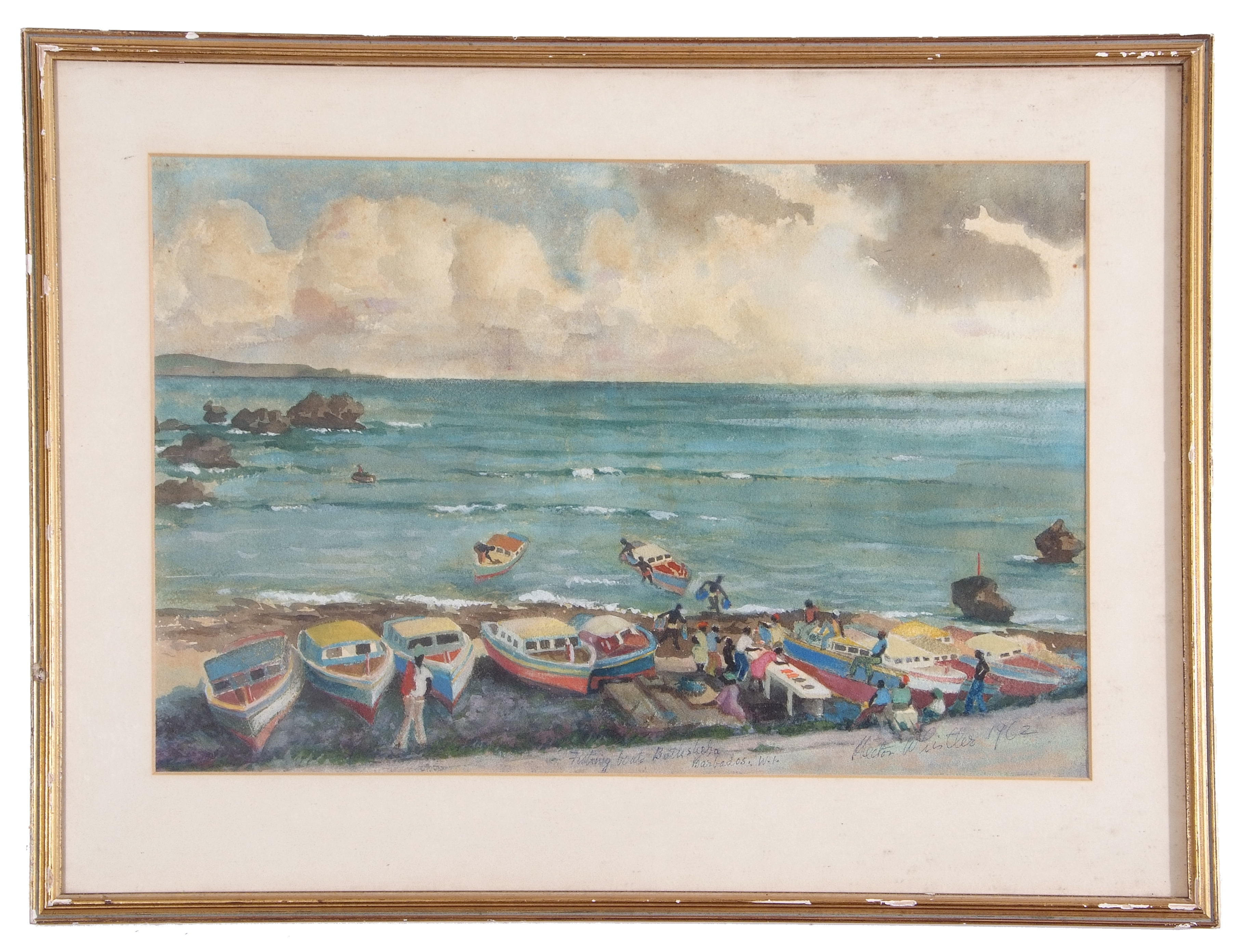 Hector Whister, Fishing boats, Barbados , Gouache on paper, signed , 12 x 18.5ins.