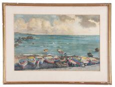 Hector Whistler, Fishing boats, Barbados , Gouache on paper, signed , 12 x 18.5ins.