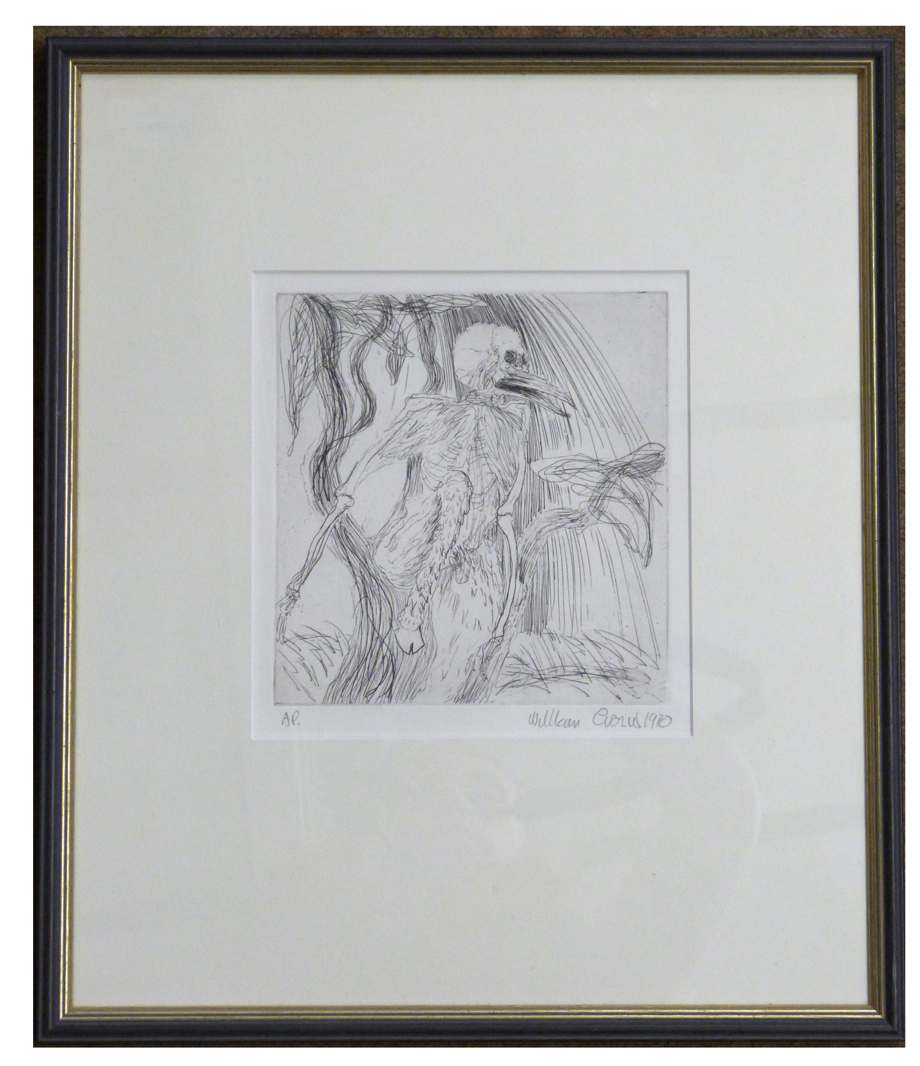 An abstract figure, mid-late 20th century, , Pencil, pen on paper, indistinctly signed, 8 x 7ins.