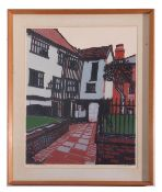 H.J. Jackson, British, Architectural composition, Tombland Alley, Linocut on paper, signed and