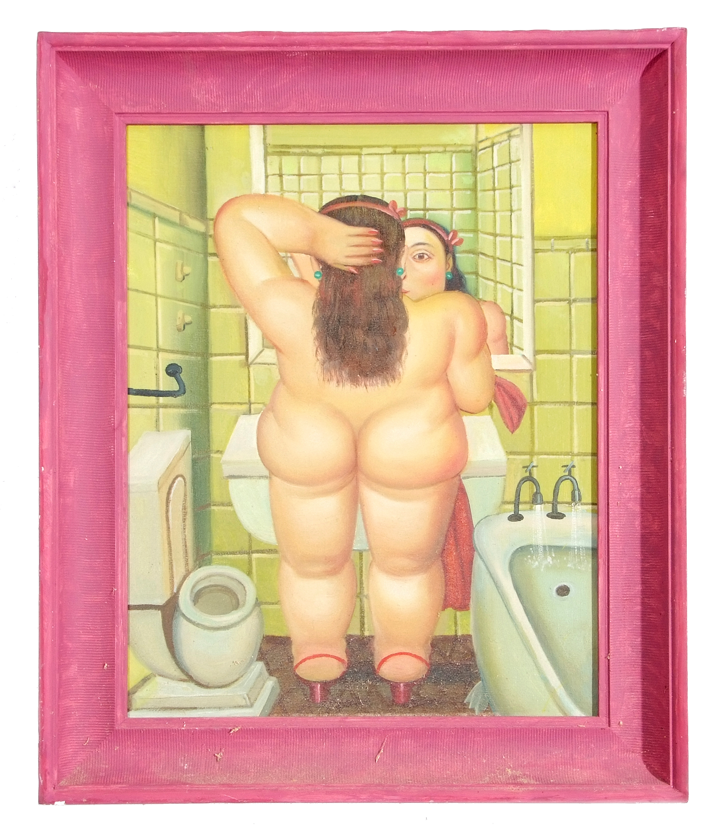 Manner of Beryl Cook, Female nude , Oil on canvas, unsigned, 21 x 17ins.