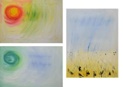 Sarah Cannell, Contemporary, set of three abstract compositions, Mixed media on canvas