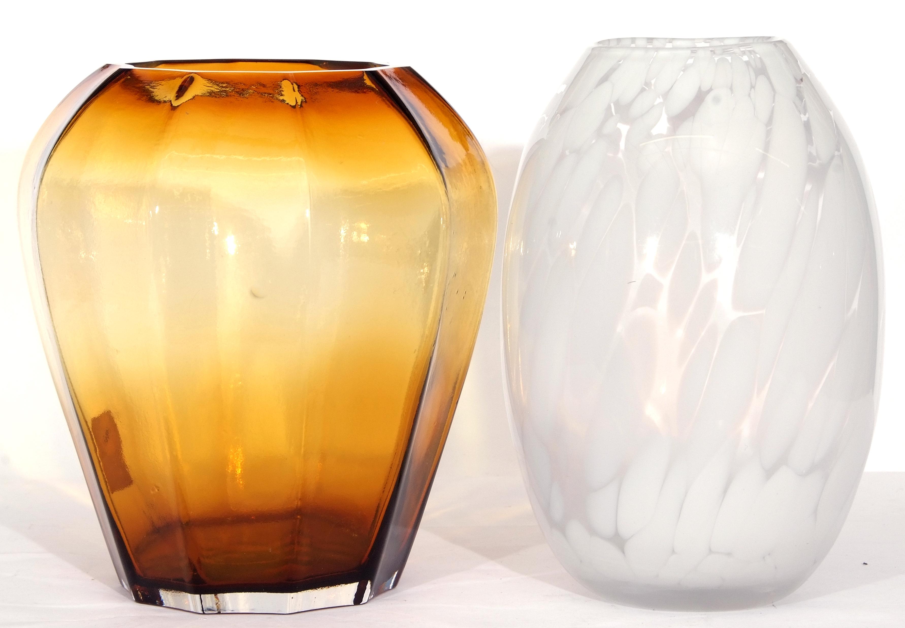 Orrefors globular vase with a streaked white design and further shaped vase (2)