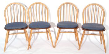 Set of four Ercol bentwood and stickback dining chairs