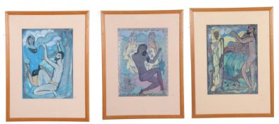 Edward Wolfe R.A.Three Coloured Prints on Foil from the limited edition of Song of Songs'14 x 10ins.