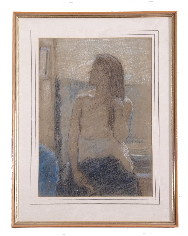 David Foggie, British, R.S.A. R.S.W. Semi-draped female figure in studio interior. , Pastel on