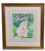 Stuart Scott Somerville, Seated nude, Mixed Media on paper, 11 x 8.5ins.