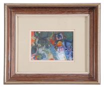 Robin Boyd, Abstract , Oil on paper, unsigned , 4.6 x 6ins.