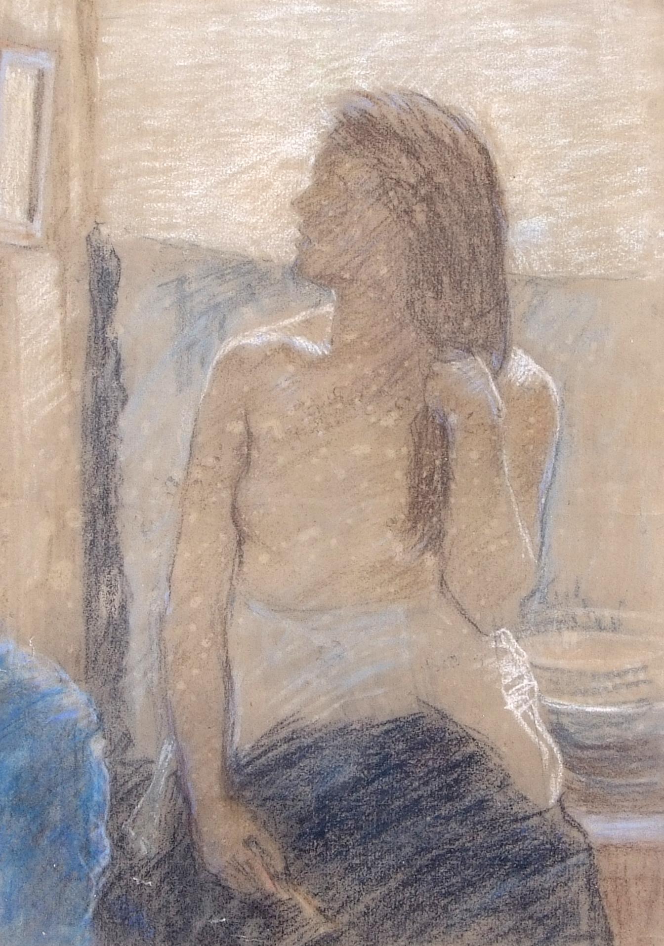 David Foggie, British, R.S.A. R.S.W. Semi-draped female figure in studio interior. , Pastel on - Image 2 of 2