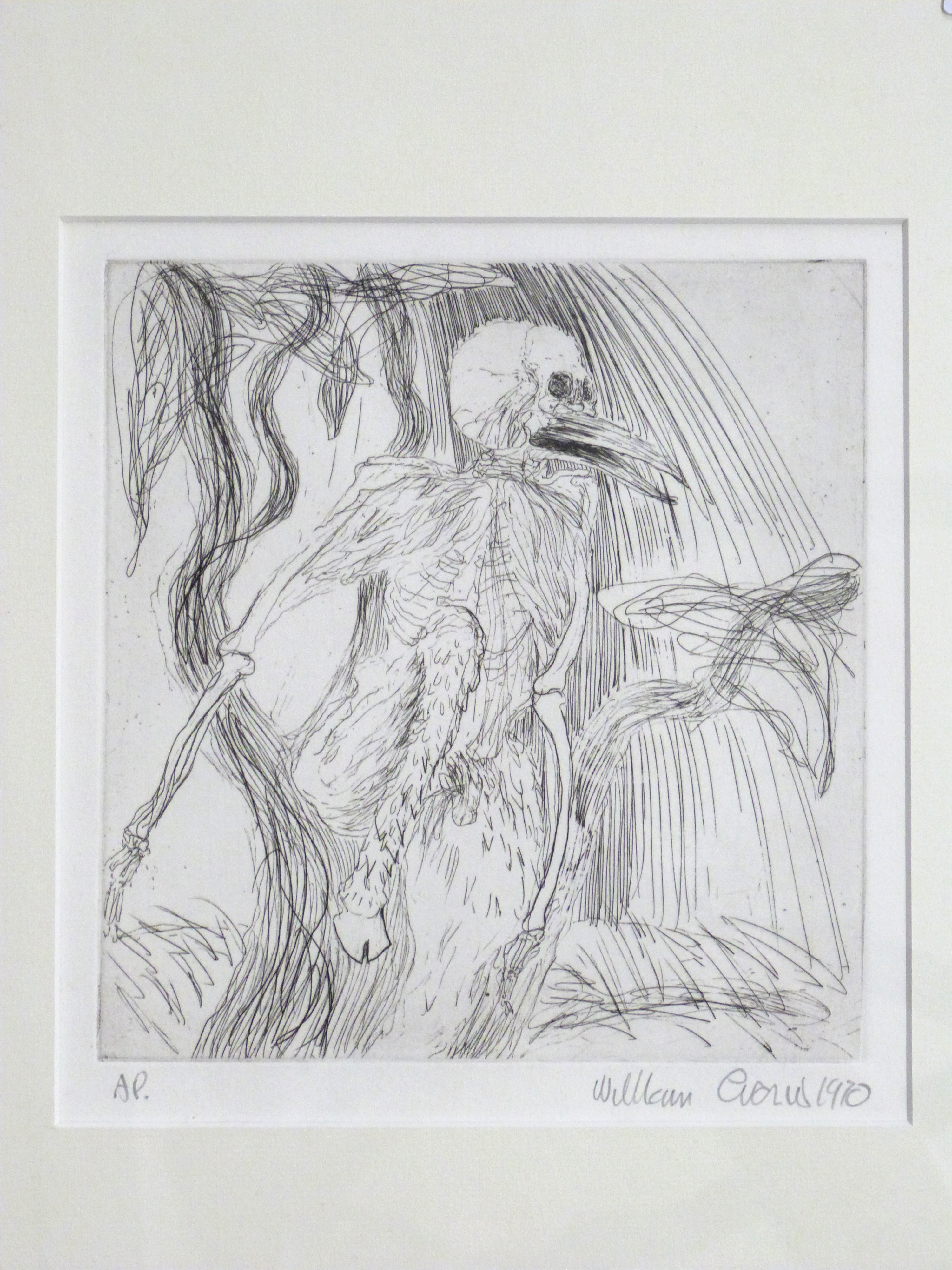 An abstract figure, mid-late 20th century, , Pencil, pen on paper, indistinctly signed, 8 x 7ins. - Image 2 of 2