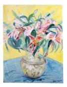 Linda Patrick, Floral still life, Acrylic on canvas, signed, 48 x 36ins, unframed.