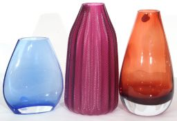 Two Art glass vases with a ribbed design