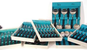 Quantity of 1970s Sheba cutlery with black plastic handles, manufactured by Butler of Sheffield,
