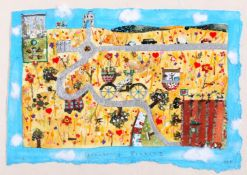 Lucy Loveheart (nee Clibbon), Strawberry Picking , Mixed media, mounted, signed, dated, 17.5 x